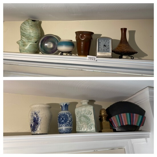 Shelf lot of assorted art pottery and glass