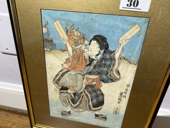 Antique Japanese Print in Frame