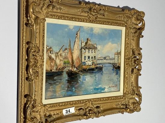 Vintage oil on canvas painting - signed