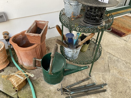 Antique Watering Can, Garden Stand, Lantern and more lot