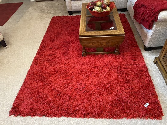 Decorative red shaggy rug