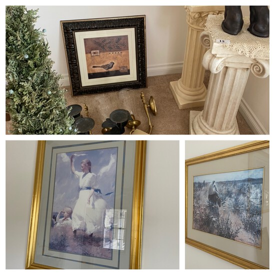 Decorative columns, cat decor, sconces, art and more lot