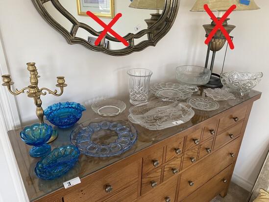 Assortment of vintage glass including blue