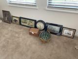 Longaberger baskets, framed home decor, clock