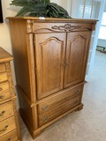 Vintage Carved Oak Armoire or Bureau