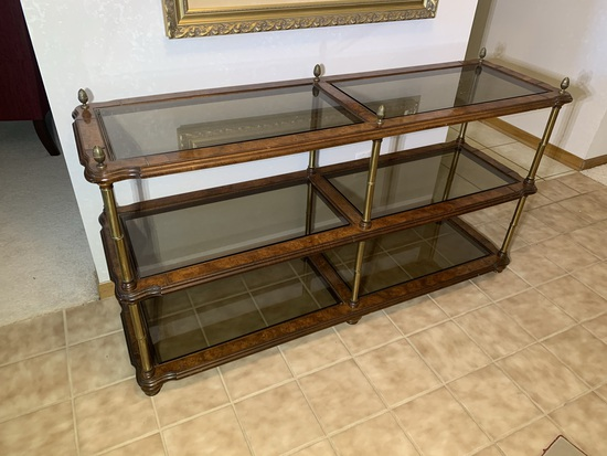 Stunning Entryway 3 Tiered Wood and Glass Shelf