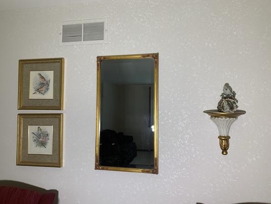 Homco Masterpiece Porcelain Bird, Small Shelf,  Mirror & 2 Bird Prints