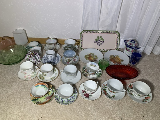 Assortment of Tea Cups & Glassware - Jahre Bareuther, Lefton China, Royal Winchester & More
