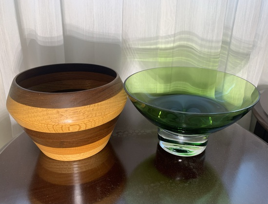 Art Glass and Wooden Bowl .  See Photos.