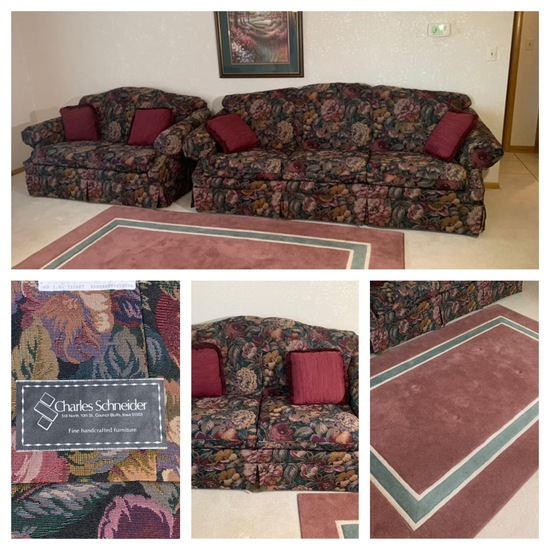 Charles Schneider Sofa and Loveseat,  Dynasty Area Rug & Framed Print