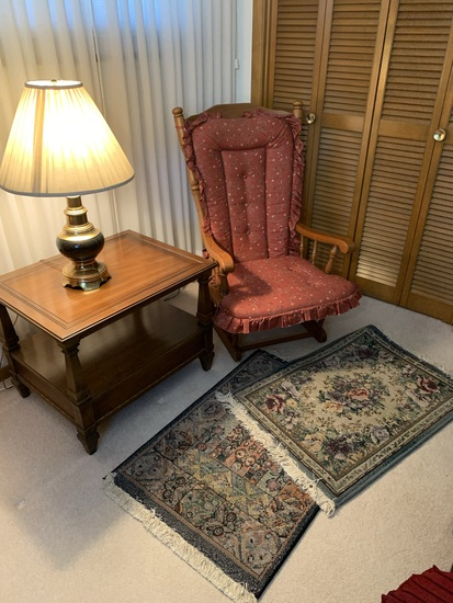 End Table, Lamp, 2 Rugs and Chair