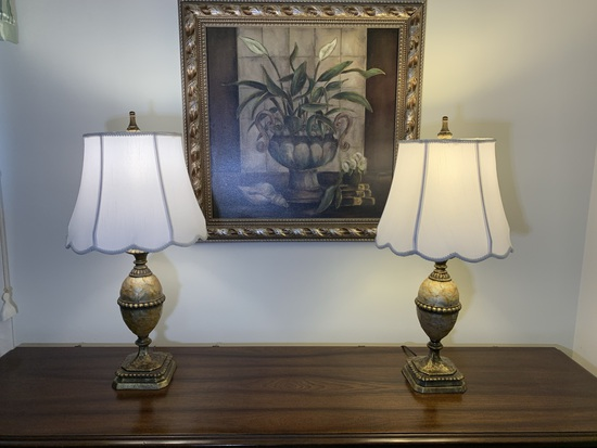 Pair of Lamps and Framed Print