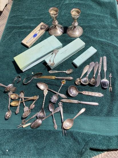 Elaborate Norway Pewter Spoons, sterling etc