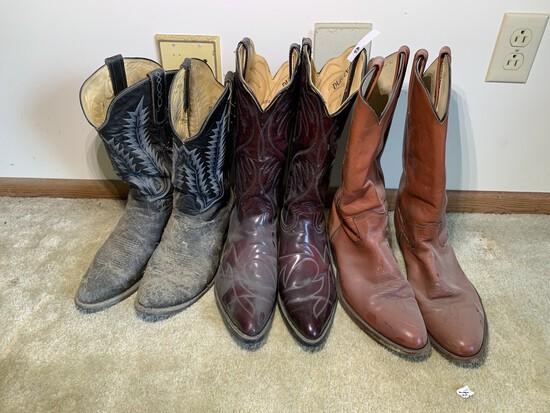 3 Pairs of Boots - Frye, Durango, Tony Lama