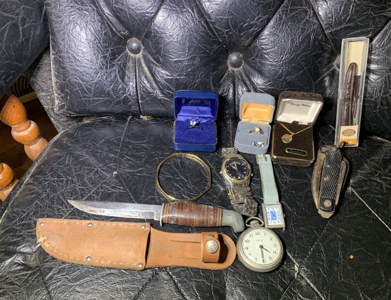 Costume Jewelry, PAL Knife & Watches