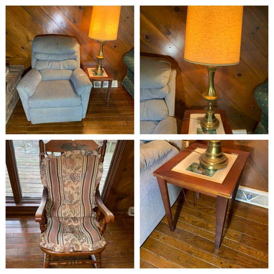 End Table, Pair of Lamps, Rocker & Chair