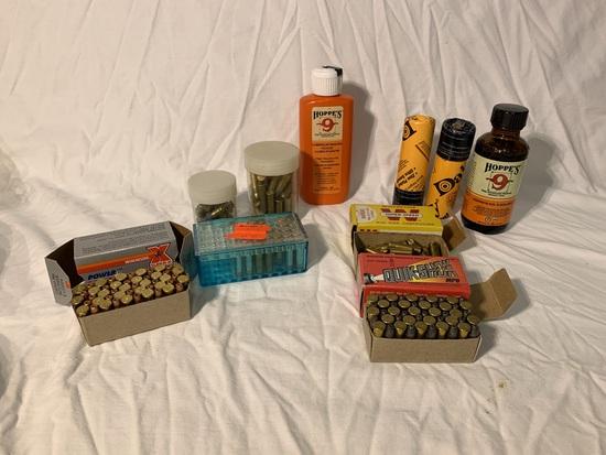 Assortment of 22 Bullets,  BB's & Gun Cleaning Items