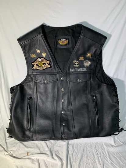 Harley-Davidson Leather Vest with Pins