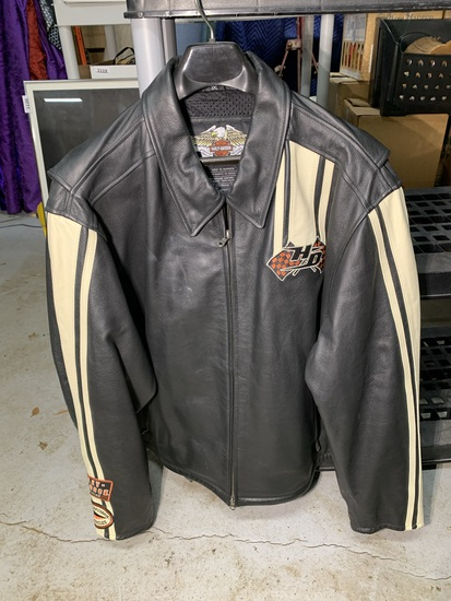 Harley-Davidson Leather Jacket with White Racing Stripe on Sleeves