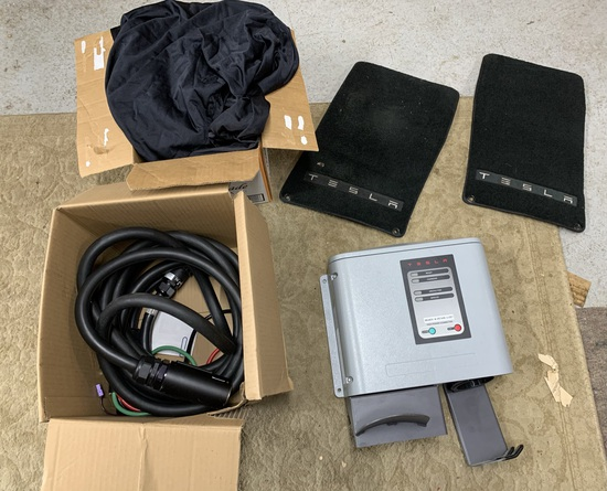 Tesla Motors Model TS-70 Charging System, Mats, Car Cover and Decals.  See Photos.