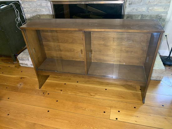 Glass Front Walnut Mid-century Modern Bookcase with Cabinet Lights