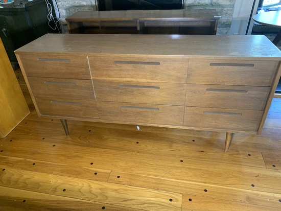 6 Drawer Mid-century Dresser - Walnut Veneer