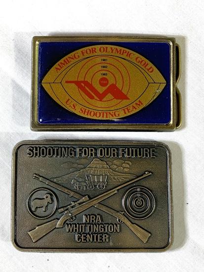 2 Collector Belt Buckles - US Shooting team NRA