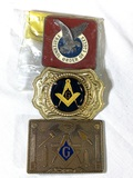 3 Collector Belt Buckles - masonic