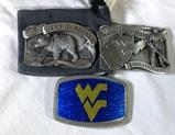 3 Collector Belt Buckles - West Virginia