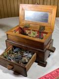Authors Card Game & Wooden Jewelry Box with Contents