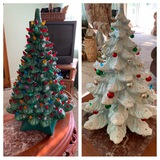 2 Ceramic Porcelain Light Up Christmas Trees