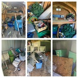 2 Shed Cleanouts - Large Amount of Christmas, Storage Totes, Wheel Barrel, Yard Handles & More