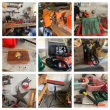 Right Back Side of Garage Clean Out - Work Bench, Vise, Tools, Heater, Paint Roller & More