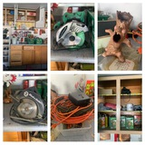 Back Wall Left Side Garage Clean Out - Tools, Ceramics, Extension Cords, Radio & More