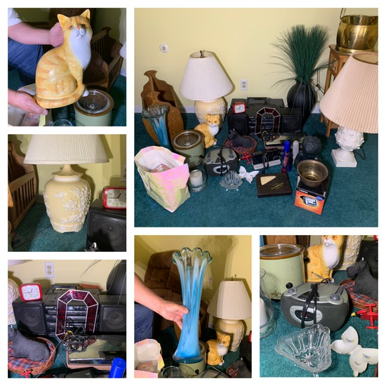 Great Group of Decorative Items, Lamps, Electronics, Dominoes, Flash lights & More