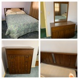 Queen Bed, Chest of Drawers, Dresser & Mirror