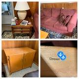Drexel Side Table, Sofa, & Cabinet