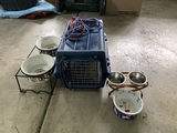 Pet Carrier and Dishes