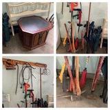 Yard Tools, Sledge Hammer, Ax, Camp Chairs, Head Board, Seeder, Step Ladder & More