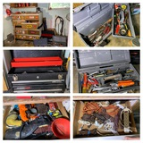Assortment of Tool Boxes, Contents of Workbench and Cabinet.  See Photos