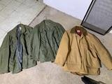 2 Military Coats and 1 Woodsman Hunting Coat