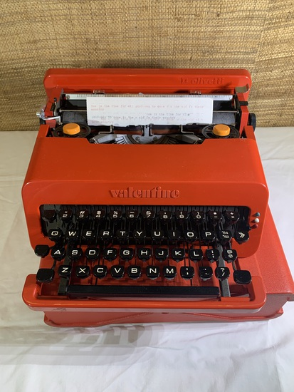 Olivetti Valentine Typewriter with Red Case.  Made in Spain.
