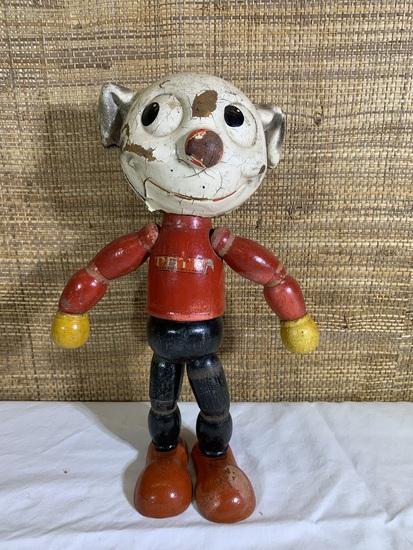 Vintage Pete the Pup Joseph Kallus 1930s wooden composite toy
