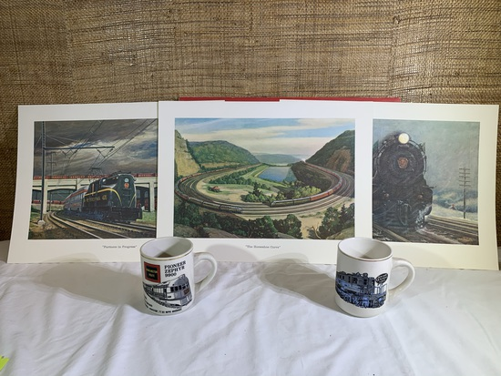 Portfolio of Trains from a Collection of the Pennsylvania Railroad with 2 Train Mugs.