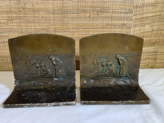 Pair of antique metal bookends - The Gleaners.