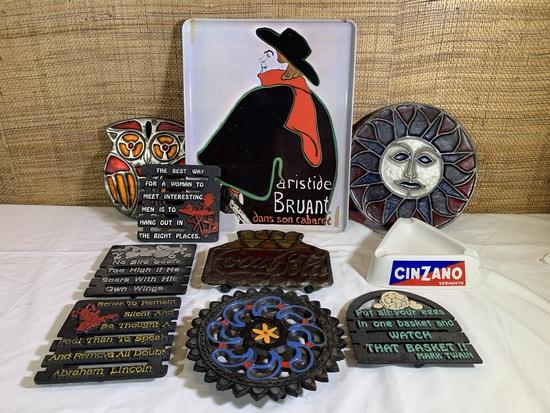 Vintage Hot Plates, Sun Catcher, Cinzano Ashtray, & RDE Import Inc Tray.