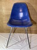 Mid Century Modern Herman Miller Inc. Blue Fiberglass Shell Chair.