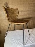 Woven Wicker Mid Century Modern Chair.