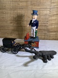 Uncle Sam Cast Iron Bank, Cast Iron Horse and Buggy, Cast Iron Beetle Boot Jack by John Wright.