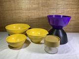 3 Brookpark Mixing Bowls, Bee Plastics Storage Container, Husqvarna Sweden Purple & Black Bowl.
